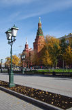 Alexander Garden and Moscow kremlin in autumn day in Moscow Stock Images