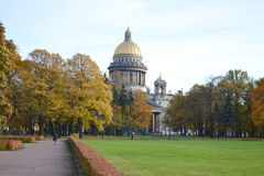 Alexander Garden and St.Isaacs Cathedral in autumn day Royalty Free Stock Photo