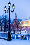 Alexander Garden in winter snowing evening, Moscow Royalty Free Stock Image