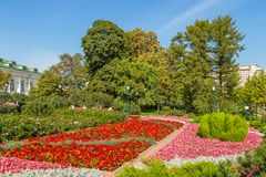 Alexander Gardens, public urban park in Moscow, Russia. stock images