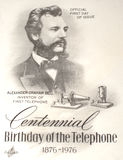 Alexander Graham Bell commemorated. Centennial anniversary of telephone commemorated in 1976 through a release of special first day cover by US Postal Service Stock Photo