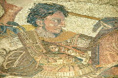 Alexander the Great. Ancient roman mosaic of alexander the great in the battle of Issus against King Darius of Persia stock images