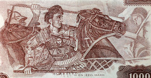 Alexander The Great dans la bataille Photo stock