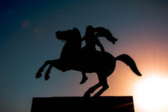 Alexander the great. Evening photo at the city of Thessaloniki . The statue of Alexander the great Stock Photos