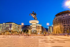 Alexander the Great fountain in Skopje Stock Photography
