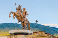 Alexander The Great, monument. Warrior on a Horse statue (Alexander the Great), Skopje stock photography