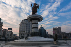 Alexander the Great. Statue of Alexander the Great on main square in Skopje, Macedonia Royalty Free Stock Images