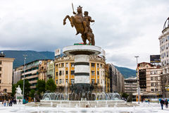 Alexander the Great statue on main square in Stock Photo