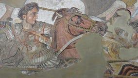 Alexander the Great versus Darius. Pompeii, Italy - April 1, 2017: Ancient roman mosaic of Alexander the Great in battle against Darius, from Pompeii site Stock Images
