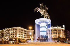 Alexander the Great. Warrior on a Horse statue (Alexander the Great), Skopje stock photo