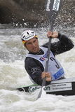 Alexander Grimm in water slalom world cup race  Royalty Free Stock Photo