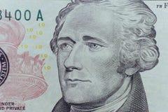 Alexander Hamilton-gezicht op de macro van de de dollarsrekening van de V.S. tien of 10, eenheid Stock Afbeeldingen
