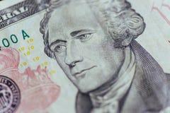 Alexander Hamilton-gezicht op de macro van de de dollarsrekening van de V.S. tien of 10, eenheid Royalty-vrije Stock Foto's