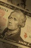 Alexander Hamilton op rekening $10 Stock Afbeeldingen