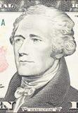 Alexander Hamilton-Porträt auf Dollarschein Stockfotos