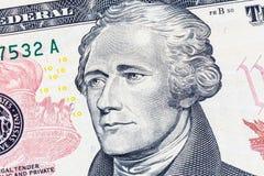 Alexander Hamilton-Porträt auf 10 US-Dollar Rechnung Stockbild