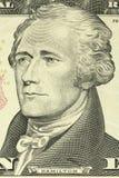 Alexander Hamilton portrait on the banknote of ten American dollars. Closeup Stock Photos