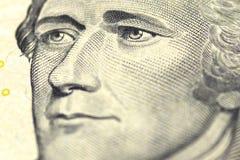 Alexander Hamilton stående från oss 10 dollar Royaltyfri Bild