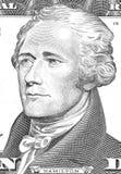 Alexander Hamilton stående från oss 10 dollar Arkivbilder