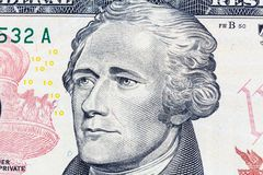 Alexander Hamilton stående på räkning för US dollar 10 royaltyfri bild