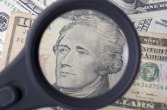 Alexander Hamilton on ten dollar United States as a background Royalty Free Stock Photography