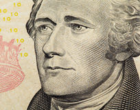 Alexander Hamilton on US ten dollars bank note close up Stock Photo