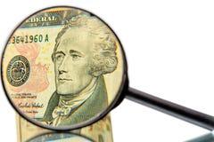 Alexander Hamilton y lupa Fotografía de archivo