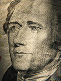 Alexander Hamiltons portrait is depicted on painted on the $ 10 banknotes Stock Image