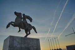 Alexander het Grote Standbeeld Thessaloniki stock fotografie