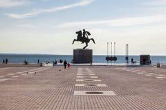 Alexander het Grote standbeeld in Thessaloniki, Griekenland stock foto
