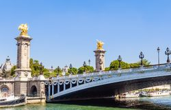 The Alexander III Bridge across the Seine in Paris, France Royalty Free Stock Image