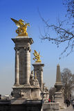 The Alexander III Bridge across Seine river in Paris, France Stock Photography