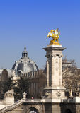 The Alexander III Bridge across Seine river in Paris, France Royalty Free Stock Photos