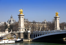 The Alexander III Bridge across Seine river in Paris, France Royalty Free Stock Image