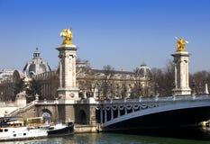 The Alexander III Bridge across Seine river in Paris, France Royalty Free Stock Image