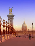 The Alexander III Bridge across Seine river in Paris, France. Cityscape in a sunny day Royalty Free Stock Images