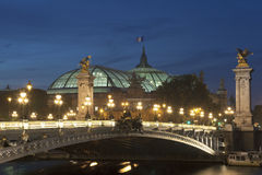 Alexander III bridge and Grand palais, Paris Royalty Free Stock Images