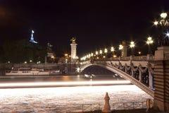 The Alexander III bridge at night - Paris Stock Photos
