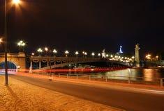 The Alexander III bridge at night - Paris Stock Photography