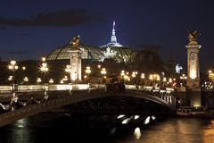 The Alexander III Bridge at night, Paris, France. Stock Image