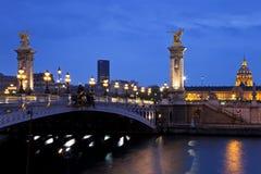The Alexander III bridge at night. Paris, France stock photography