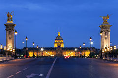 The Alexander III bridge at night. Paris, France Royalty Free Stock Photo