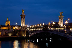 The Alexander III bridge at night. Paris, France Royalty Free Stock Photos