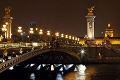 The Alexander III Bridge at night in Paris, France Stock Photo
