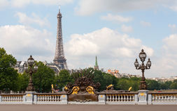 Alexander III bridge in Paris with Eiffel Tower Royalty Free Stock Photo