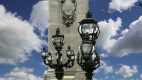 The Alexander III bridge - Paris, France stock video footage