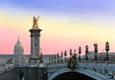 The Alexander III Bridge. Paris,Sunset. Stock Images