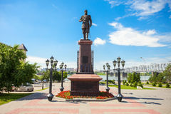 Alexander III Monument, Novosibirsk. Alexander III Monument and the first bridge across the Ob is located on the embankment of Ob river in the park City stock photo