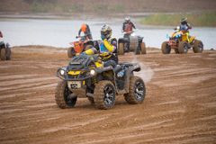 Alexander Kuzmin 19 (Quad Boom). MOSCOW-OCTOBER 10: Alexander Kuzmin 19 (Quad Boom), class 4x4, in the 5 stage of the XSR-MOTO.RU Cross Country in Moscow, Park Stock Images