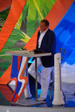 Alexander Masliakov, Führer von Programm Fernsehen KVN, über das Stadium Lizenzfreies Stockbild